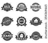 icons in gray label  quality ... | Shutterstock . vector #354369665