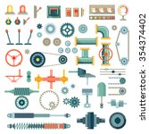 parts of machinery flat icons... | Shutterstock .eps vector #354374402