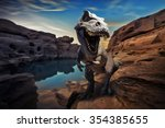 Dinosaurs Model On Mountain Rock