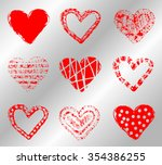 vector set of hearts. painted... | Shutterstock .eps vector #354386255