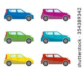 car set in flat style. vehicle... | Shutterstock .eps vector #354389342