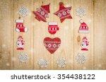 wooden christmas figurines... | Shutterstock . vector #354438122