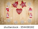 wooden christmas figurines... | Shutterstock . vector #354438182
