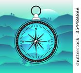 old fashioned compass on blue... | Shutterstock .eps vector #354486866