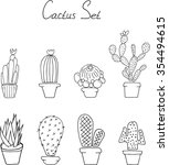 hand draw doodle. set cactuses... | Shutterstock .eps vector #354494615