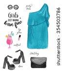 watercolor fashion illustration.... | Shutterstock . vector #354503786