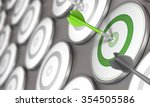 one dart hits the center of a... | Shutterstock . vector #354505586