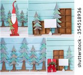 christmas decorations collage | Shutterstock . vector #354518936