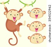 cartoon monkey with emotions of ... | Shutterstock .eps vector #354522962