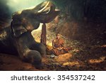 monk meditating in the jungle... | Shutterstock . vector #354537242