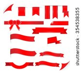 red ribbons set isolated on...   Shutterstock .eps vector #354538355