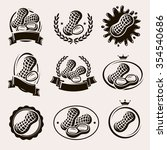 peanuts label and icons set.... | Shutterstock .eps vector #354540686
