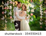 bride and groom on their... | Shutterstock . vector #354550415
