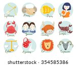 cute illustration of zodiac... | Shutterstock . vector #354585386