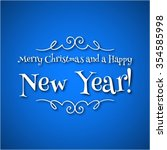 christmas card on a blue... | Shutterstock . vector #354585998