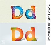 set of cut paper vector letters ... | Shutterstock .eps vector #354589142