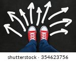 feet wearing red shoes on black ... | Shutterstock . vector #354623756