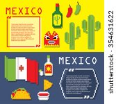 mexico culture banner icons set.... | Shutterstock .eps vector #354631622