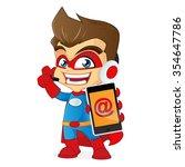 superhero as customer service... | Shutterstock .eps vector #354647786