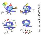 holidays monkey peron set | Shutterstock .eps vector #354655616