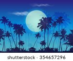 big blue moon twilight with... | Shutterstock .eps vector #354657296