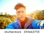 young  man make selfiein the... | Shutterstock . vector #354663755