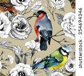 bullfinch and titmouse birds... | Shutterstock . vector #354694346
