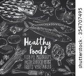 healthy food doodles on... | Shutterstock .eps vector #354707495