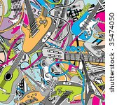Vector Guitars Collage - stock vector