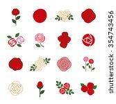 set of rose flower design... | Shutterstock .eps vector #354743456