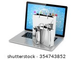 laptop and  shopping pags on... | Shutterstock . vector #354743852