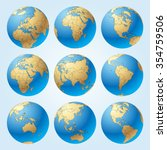 globe set with with borders of... | Shutterstock .eps vector #354759506