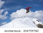 flying snowboarder on mountains.... | Shutterstock . vector #354759782