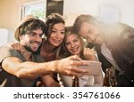 friends taking selfies on a... | Shutterstock . vector #354761066