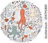 colorful kids cartoon sea life... | Shutterstock .eps vector #354791885