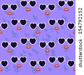 heart sunglasses and lips.... | Shutterstock .eps vector #354792152