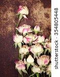 vintage mini  roses on shabby... | Shutterstock . vector #354805448