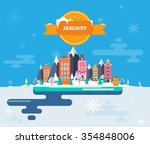 winter landscape. small town.... | Shutterstock .eps vector #354848006