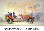 young humorous woman driving... | Shutterstock . vector #354854342