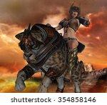 3d render of sabertooth cat and ... | Shutterstock . vector #354858146