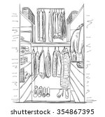 hand drawn wardrobe sketch.... | Shutterstock .eps vector #354867395