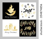 christmas card with hand drawn... | Shutterstock .eps vector #354874856