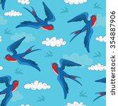 seamless bird pattern with cute ... | Shutterstock .eps vector #354887906