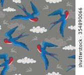 seamless bird pattern with cute ... | Shutterstock .eps vector #354890066