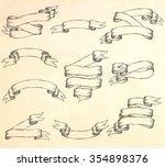 vintage ribbons set. hand drawn ... | Shutterstock .eps vector #354898376