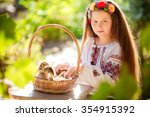 little ukrainian girl with... | Shutterstock . vector #354915392