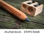 pencil  and  sharpener on... | Shutterstock . vector #354915668