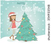 girl with christmas tree | Shutterstock .eps vector #354933548