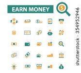 earn money  payment icons ... | Shutterstock .eps vector #354952946