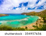 enjoying paradise in hawaii at...   Shutterstock . vector #354957656